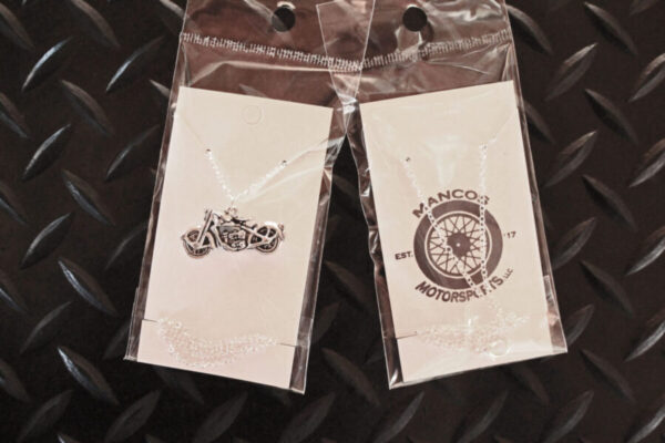 Silver Motorcycle Necklace in packaging
