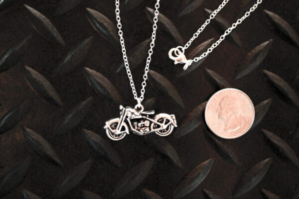 Silver Motorcycle Necklace with quarter for scale