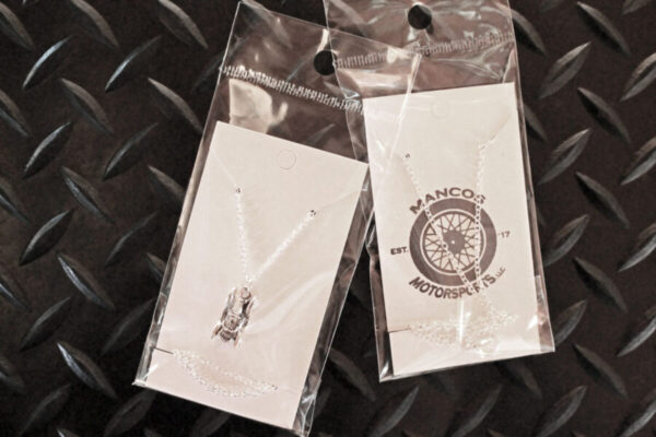Antique Car Necklace in packaging