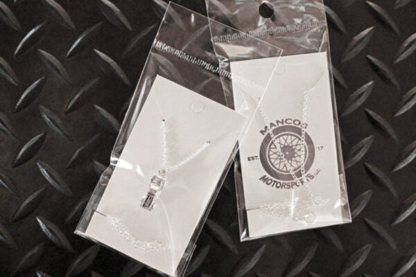 Antique Truck Necklace in packaging