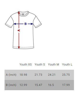 Kid's t-shirt size chart
