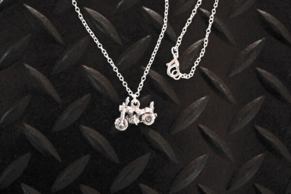 Little Silver Motorcycle Necklace