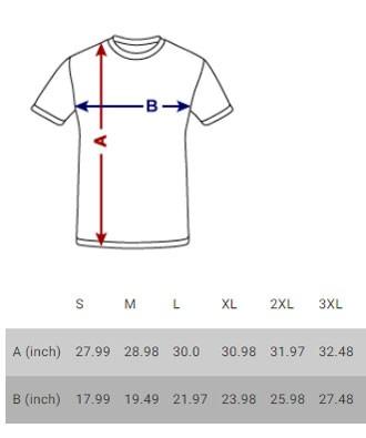 Men's logo t-shirt size chart