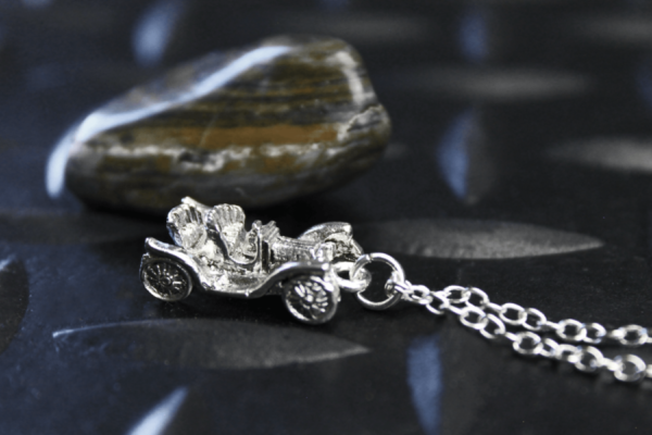 Silver Antique Car Necklace