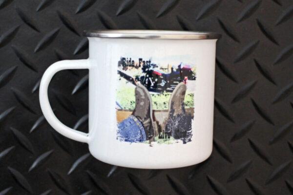 Mancos Motorsports Ride Fast Live Slow Camper Mug