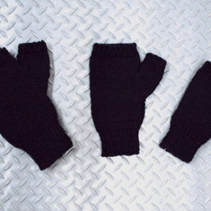 Hand knit fingerless gloves in black