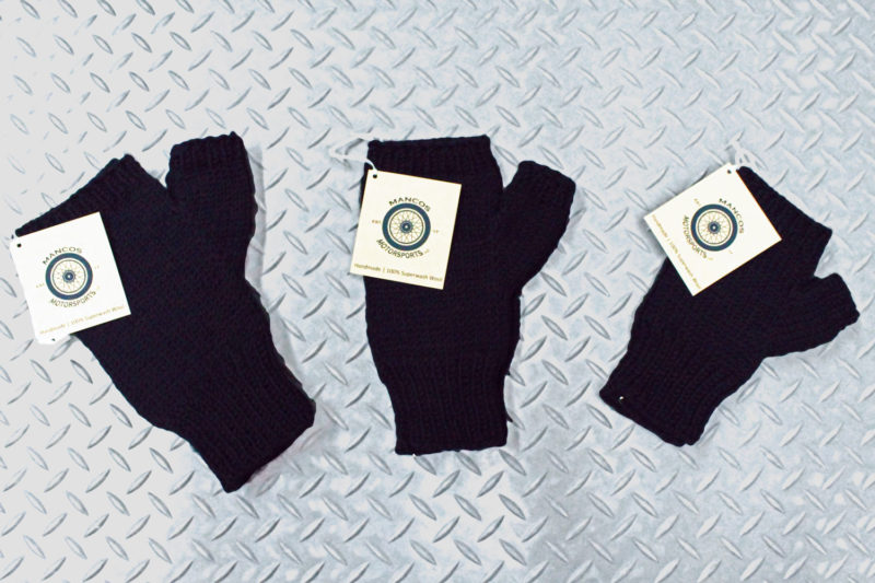 Hand knit fingerless gloves in black